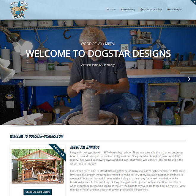 Dogstar Designs offering fine pottery and wood bowls and other hand crafted items.