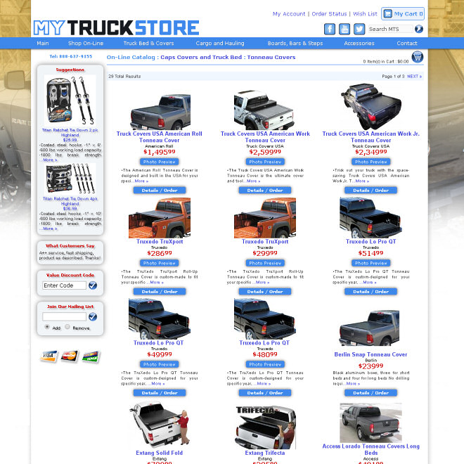 On-line automotive accessory shopping for your truck, sport utility, and van.