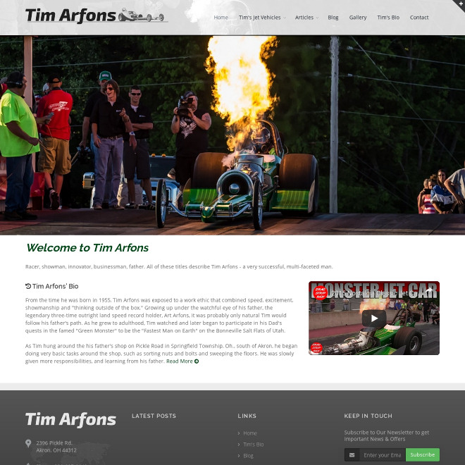 Tim is the son of 3-time land speed record holder Art Arfons, famous for his line of Green Monster jet vehicles.